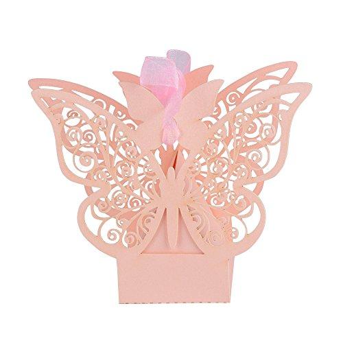 100 pcs Cajas Cajitas Papel de Caramelo Dulces Bombones Regalos Recuerdos Detalles de Boda Fiesta Bautizo Cumpleaños Graduación para Invitados Mariposa con Cintas (Rosa)