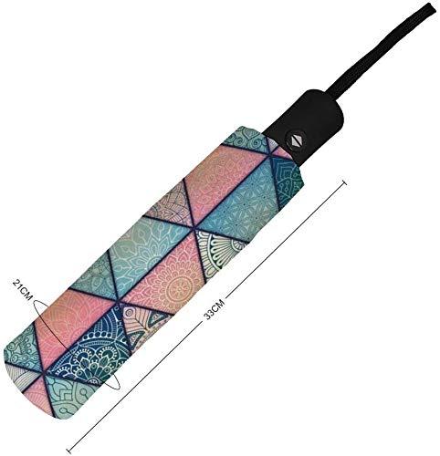 Paraguas manual de tres pliegues Línea triangular Azulejos de simetría Tonos y sombras Nano Paraguas plegable triple de gran diámetro Protector solar que cubre el sol y la lluvia