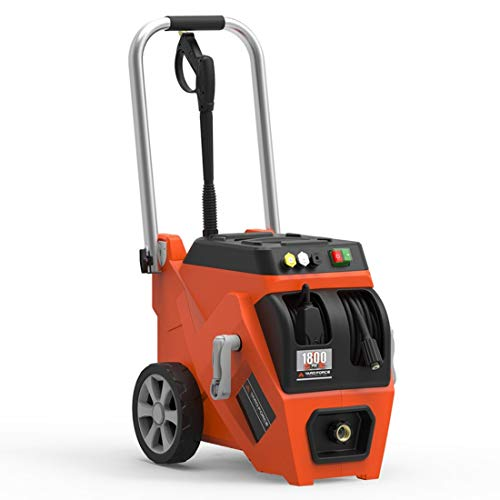 YARD FORCE YF1800LR 1800 PSI 1.2 GPM 13 Amp Electric Pressure Washer with Live Hose Reel, One Size, Orange/Black