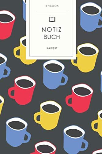 Notizbuch kariert: Bunte Kaffeetassen Muster. Tagebuch, Bullet Journal, Handlettering, Skizzenbuch oder Erfolgsjournal. Kariert 120 Seiten. Soft Cover 6x9 Zoll, ca. DIN A5 15x22cm.