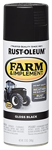 Rust-Oleum 280123 Farm & Implement Spray Paint, 12 Fl Oz (Pack of 1), Gloss Black