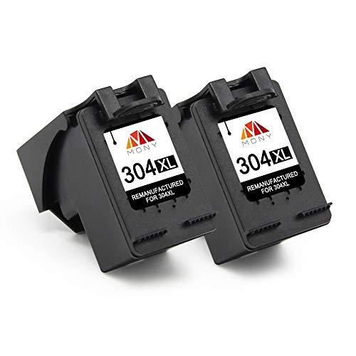 Mony Remanufacturado Cartuchos de Tinta Reemplazo para HP 304 XL 304XL (2 Negro) Compatible con HP Deskjet 3720 3730 3733 2620 2630 3750 3700 Serie Envy 5030 5020 5010 Impresoras