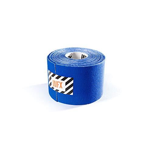 #DoYourFitness x World Fitness WFX 1x Kinesiologie Tape [5m x 5cm LxB] - Lange Tragezeit - elastische Bandage für Sport - Selbsklebend, 100% gewebte Baumwolle, Wasserresistent, Latexfrei - Navyblau