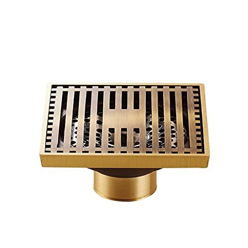 SXXYZY Desodorante de desagüe de latón antiguo para el suelo de la ducha del baño Euro Square Floor Drain tapa (tamaño : versión de agua poco profunda)