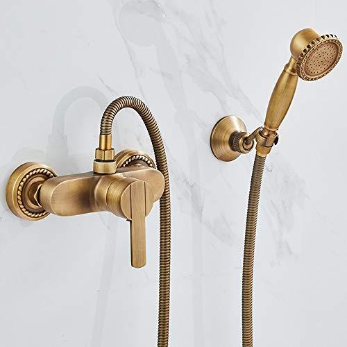 AXWT El nuevo conjunto de duchas de bronce de la ducha de pared con una sola manija de lujo de lujo de la ducha de la mano tomar una ducha de latón de bañera de mezcla de la bañera de la banda de grif
