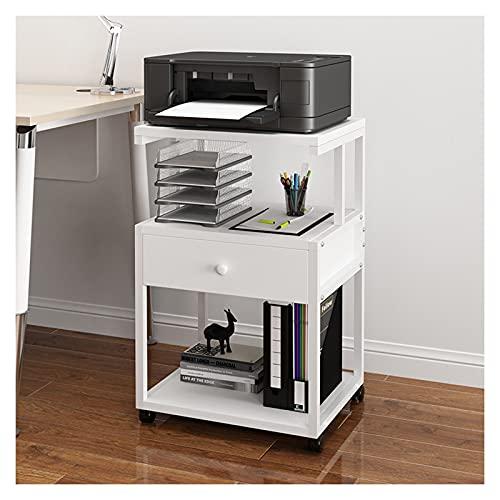 Skrivarstativ Skrivare Stand, 3 Tier Skrivare Stativ Tabell Hylla Skrivbord med förvaringsskåp Kontor Hem Mobil på hjul Desktop Desk Skriven Stand Office Organisation Justerbart förvaringsställ