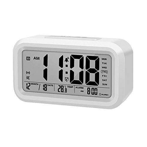 JZUO Sveglia Elettronica Orologio Parlante Orologio Parlante Sveglia con Snooze Digitale con Retroilluminazione Calendario Termometro Bianco