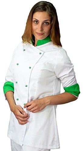 tessile astorino Bordado gratuito – Chaqueta de cocinero de cocina – Casaca Chef Mujer – Blanco y Verde – Fabricado en Italia Blanco y Verde, Mujer XXXXL