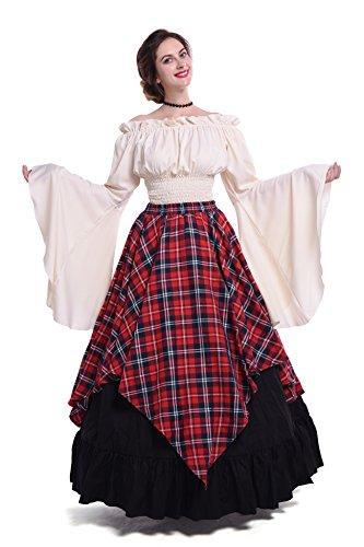 Nuoqi Mittelalterliches Kostüm Women lange Ärmel Renaissance-Kleid XXL-2