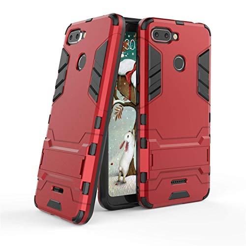 Funda Xiaomi Redmi 6, Funda 2in1 Dual Layer 360° Full Body Anti-Shock Protección Silicona TPU Bumper y Duro PC Armadura con Soporte y Desmontable Carcasa para Xiaomi Redmi 6, Rojo
