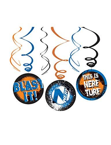 COOLMP – Lote de 12 – 3 colgantes en espiral Nerf – Talla única – Decoración accesorios de fiesta, almuerzo, cumpleaños, boda, evento, juguete o globo.