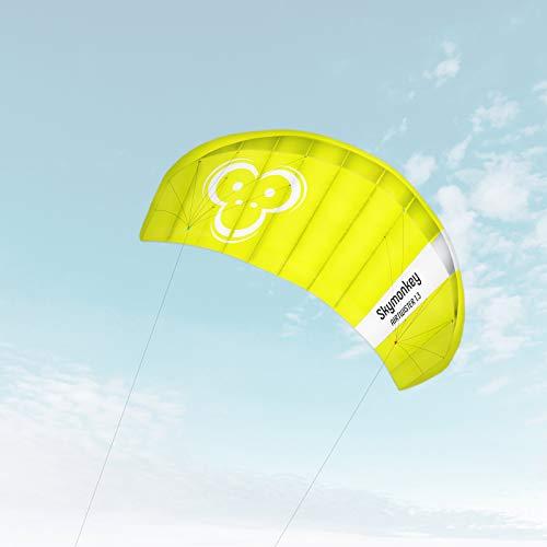 """Skymonkey Airtwister 1.3 Lenkmatte mit Flugschlaufen \""""Ready 2 Fly\""""- 130 cm [grün-gelb]"""