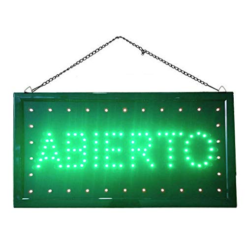 Letrero cartel Panel LED abierto DOS boton encender luz luminoso señal LED (Abierto-Verde)