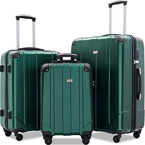Lowest Prices! Merax 3 Pcs Luggage Set with Built-in TSA, Eco-friendly P.E.T Light Weight Spinner Su...