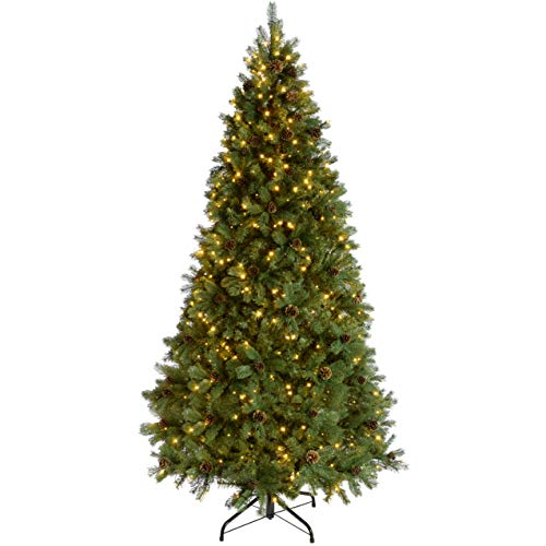 WeRChristmas Pre-Lit Craford Christmas Tree with Pinecones & 950 Chasing Warm LED Lights, 10 feet/3m
