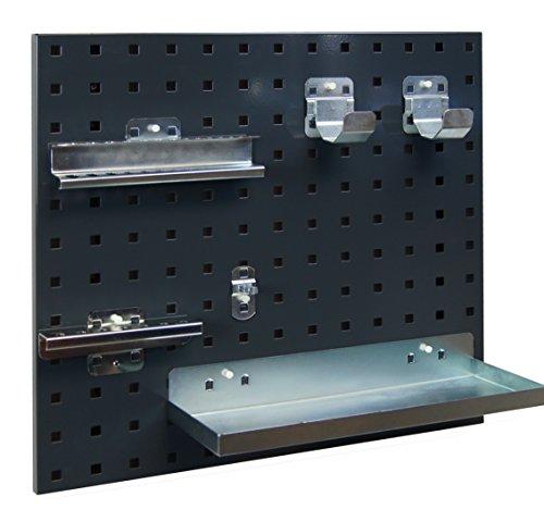 Akkuschrauber Wandhalterung Set für 1 Akkuschrauber, mit Haltern für 14 Bohrer, 7 Bits, 1 Bitaufnahme und Ladegerät / Ersatzakku