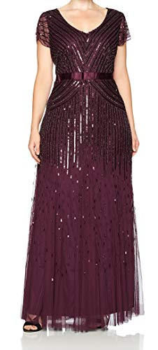 Adrianna Papell Women's Plus-Size Long Cap-Sleeve Gown, Cassis, 16W (Apparel)