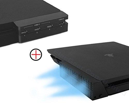 PS4 Slim Refroidisseur Ventilateur & 4-Port USB Hub Combo Kit, Turbo Cooling Fan Cooler Ventilateur de Refroidissement de Auto contrôle de la température USB3.0 Adaptateur pour Playstation 4 Slim