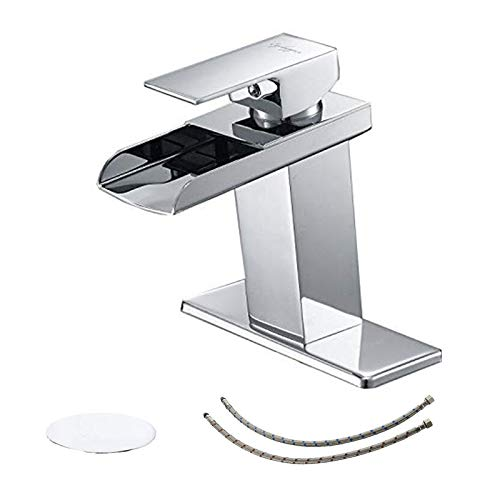 BWE Bathroom Sink Faucet Chrome with Drain Assembly and Supply Line Single Handle One Hole Waterfall Faucets Deck Mount Lavatory Mixer Tap Lead-Free