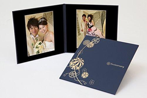 クラウンハート 2面 6切 2枚 まり柄 紺 「Anniversary」 ゴールド箔 中枠黒色  写真台紙 2面アルバム 七五三 結婚式 成人式 ベビー 六つ切り 6切 2面台紙