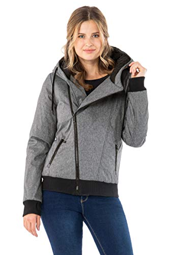 Sublevel Damen Winter-Jacke mit Kapuze warm gefüttert Grey S