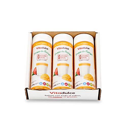 Sirope de mango sin azúcar, Topping de mango, Sirope bajo en calorías 400 gr. Pack de 3 unidades - Vitadulce