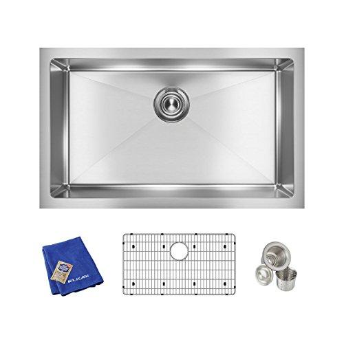 """Elkay Crosstown EFRU2816TC 16 Gauge Stainless Steel 30-1/2"""" x 18-1/2"""" x 8"""", Single Bowl Undermount Sink Kit"""