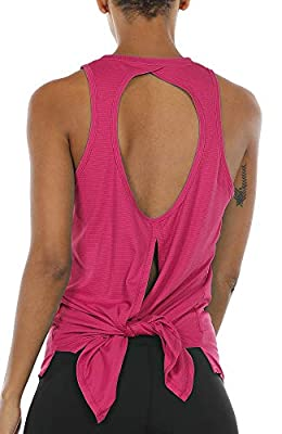 icyzone Open Back Workout Top Shirts - Activewear Exercise Yoga Tops for Women (M, Rose Red)