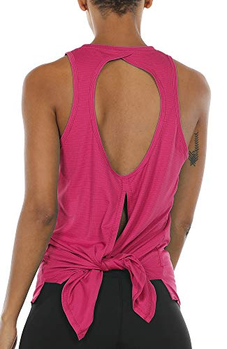 icyzone Open Back Workout Top Shirts - Activewear Exercise Yoga Tops for Women (S, Rose Red)