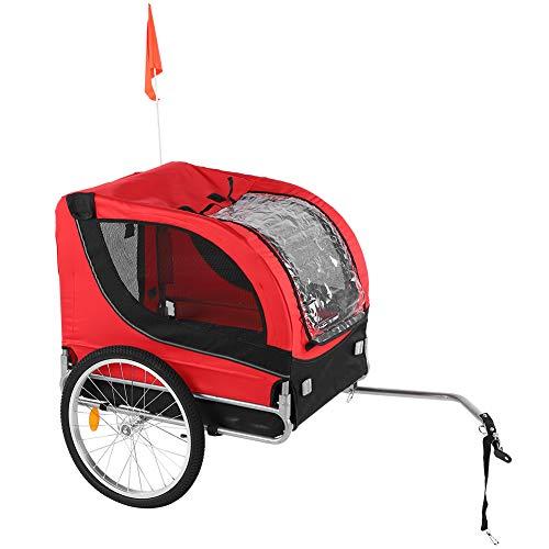 Remorque pour animaux de compagnie, remorque de vélo pour chiens avec attelage et drapeau Véhicule général pour le transport d'animaux de compagnie, pour le camping de randonnée Respirant Charge maxim
