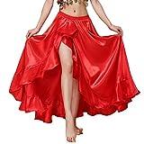 MUNAFIE Belly Dance Skirt Satin Split Side Long Skirts for Women Hot Red
