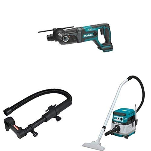 Makita XRH04Z 18V LXT 7/8-Inch Rotary Hammer (Tool Only), 193472-7 Dust Extraction Attachment, & XCV07ZX 18V X2 LXT (36V) Brushless 2.1 Gallon HEPA Filter Dry Dust Extractor
