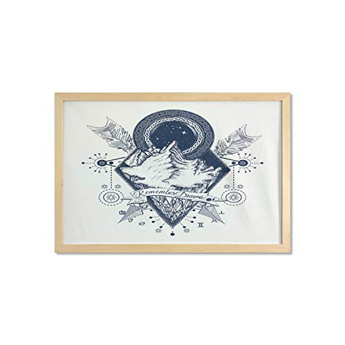 Ambesonne Adventure Framed Poster, Mountains in Boho Tattoo Style with Crossed Arrows and Astrological , Printed Wall Art for Bathroom Living Room Dorms and Offices, 35' x 23', Dark Blue White
