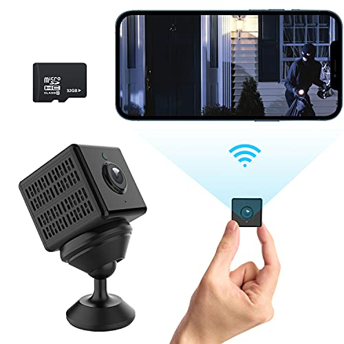 RIRGI Telecamera Spia Nascosta wifi con Scheda Sd 32GB, Telecamera wi-fi Interno HD 1080P con Visione Notturna, Rilevamento di Movimento Videocamera Sorveglianza Microcamere per Esterno   Interno