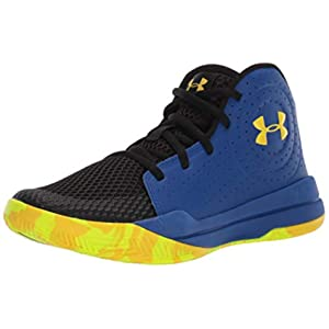 Under Armour unisex child Pre School Jet 2019 Basketball Shoe, Royal (404 Black, 5.5 Big Kid US