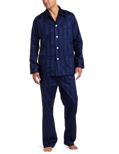 Derek Rose Herren Pyjama-Set - Blau - Medium
