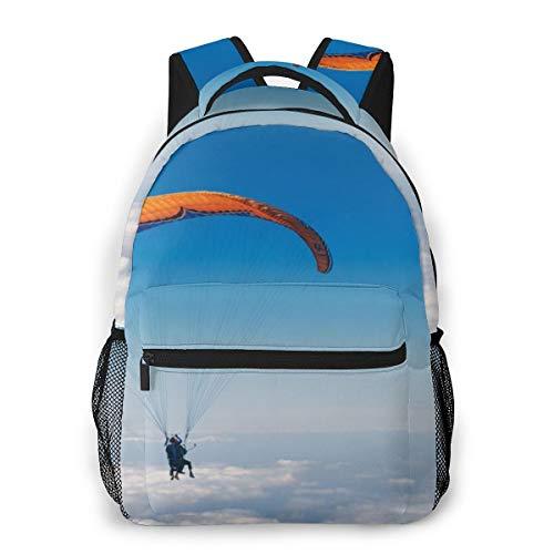 Laptop Rucksack Schulrucksack Wolkenfliegenhimmel Fallschirm-Luftsport, 14 Zoll Reise Daypack Wasserdicht für Arbeit Business Schule Männer Frauen