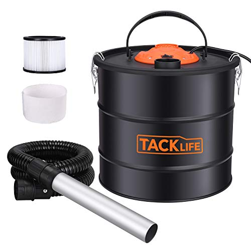 TACKLIFE Ash Vacuum Cleaner Ash VAC Canister 5 Gallon Capacity 800W Power Bagless Debris/Dust/Ash Collector, Suitable for Grill, Fireplace, Wood Stoves and Pellet Stove