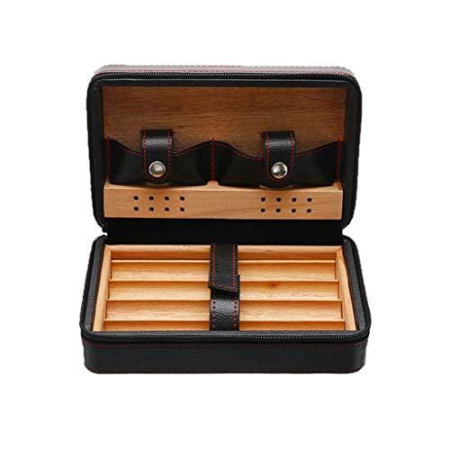 Gymqian Titular de la Caja Del Cigarro con Cremallera de Cuero + Alenamiento de Madera Humidor Caja de Regalo No Incluye Cortador de Cigarros Y Más Ligero Multifunción/Negro