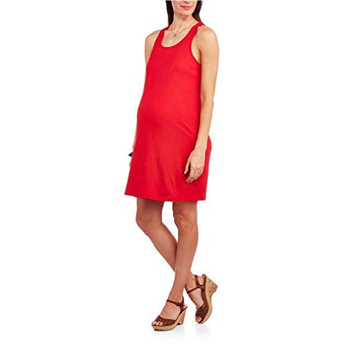 Faded Glory Women's Maternity Casual Short Racerback Tank Dress (X-Large, Red)