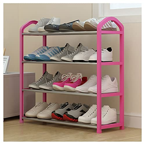 xinxinchaoshi Zapatero Rack de Zapatos Home-ComplexShoe Rack con 4 Niveles-Niveles para 17 Pares, para el Pasillo de la habitación, Almacenamiento y organización de guardado, Rojo Armario Organizador