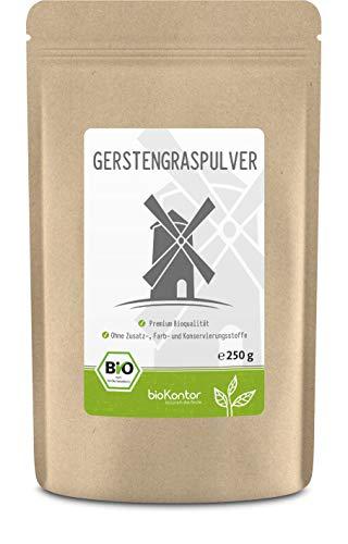 Gerstengraspulver BIO 250g | gemahlenes Gerstengras aus kontrolliert biologischem Anbau | laborgeprüft | 100% naturrein ohne Zusätze | abgefüllt in Deutschland | bioKontor