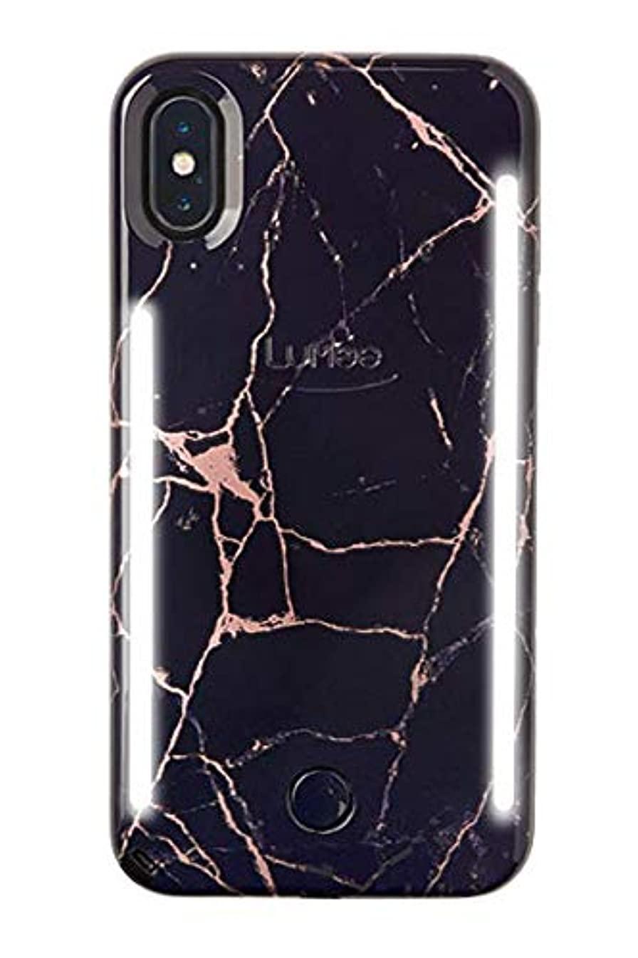 LuMee Duo Phone Case, Metallic Rose Black Marble   Front & Back LED Lighting, Variable Dimmer   Shock Absorption, Bumper Case, Selfie Phone Case   iPhone Xs Max Only