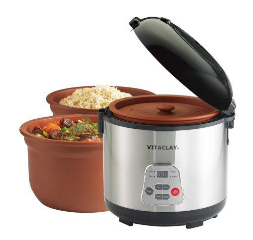 VitaClay VF7700-6 Chef Gourmet 6-Cup Rice and Slow Cooker (Multicolour)