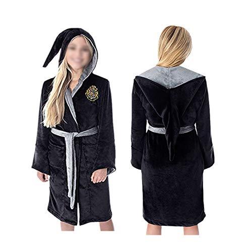 Deciduous Harry Hoodied Bademantel New Flanell Flansch Koralle Samt Hogwarts Nachthemd Seine und Ihr Roben Kleid für Erwachsene Frauen Home Bath Fuzzy Robe,M