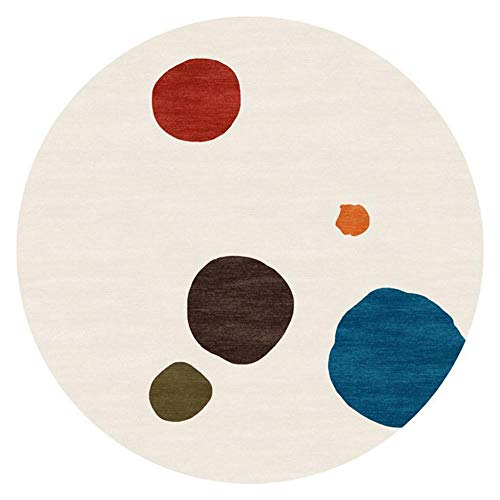 NLGGY 120CM-47inch Rug Deco Rings Modern Casual Round Area Rug Easy to Clean Stain/Fade Resistant Contemporary Living Dining Room Bedroom Rug Beige Blue Green Red