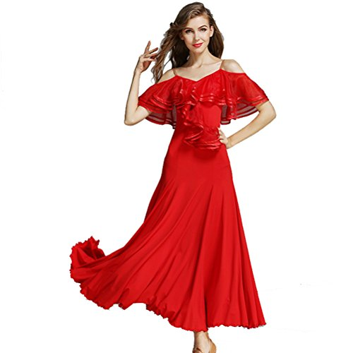 Women French Classic Luxury Big Lotus Leaf Swing Ice Silk Latin Dance Costume Flamenco Ballroom Waltz Salsa Dance Dress (XL, Red)