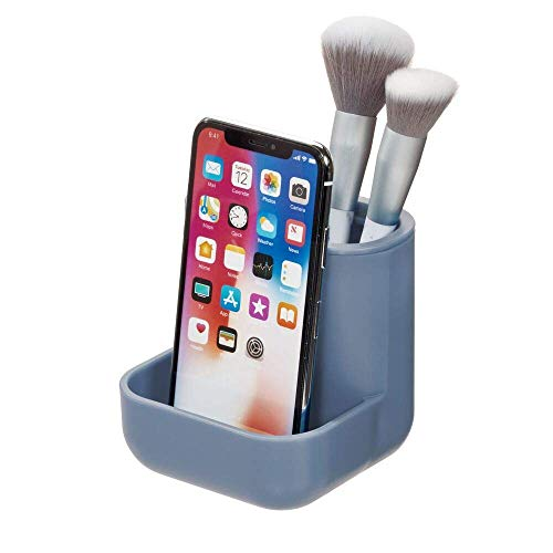 Price comparison product image iDesign Bathroom Storage for Cosmetics,  Compact Makeup Organiser with 3 Compartments,  Plastic Makeup Brush Holder for Essentials like Makeup,  Jewellery or Toothbrushes,  Blue
