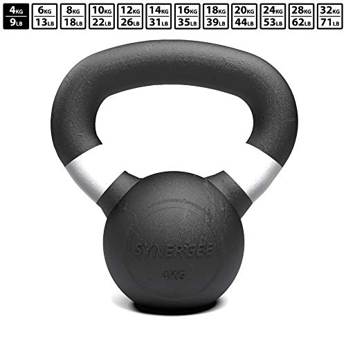 Synergee 8kg Cast Iron Kettlebell – Black Matte Kettlebell Weight - Strength, Conditioning, Crossfit, Functional Fitness