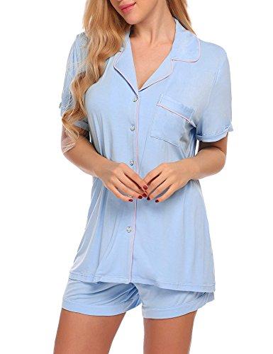 Ekouaer Women's Sleepwear Short Sleeve Pajama Set with Pj Shorts(Clear Blue, Small)